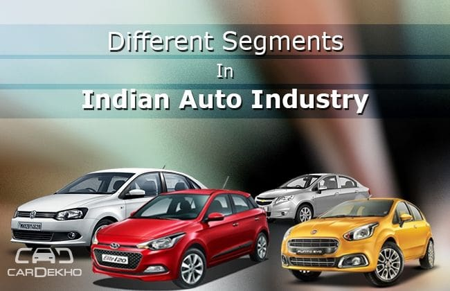 Different segments in Indian auto industry