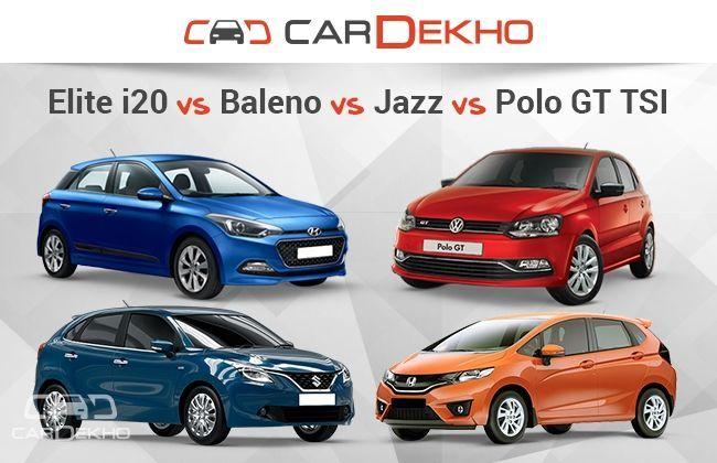 Hyundai Elite i20 vs Honda Jazz vs Maruti Suzuki Baleno vs VW Polo GT TSI