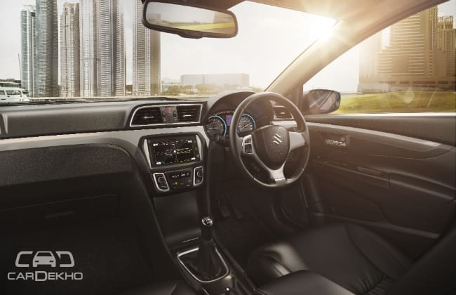 All-black interior of the Ciaz S