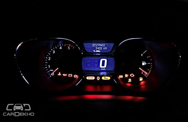 Infinity instrument cluster at night