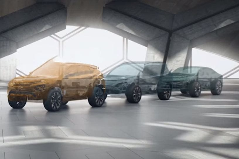 Tata H5X at the front with two more concept cars behind