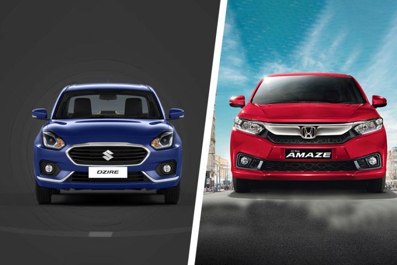 2018 Honda Amaze Vs Maruti Dzire Variants Comparison Cardekho Com