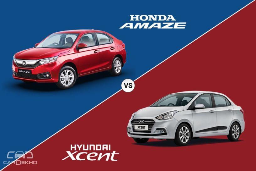 2018 Honda Amaze Vs Hyundai Xcent Specifications Comparison