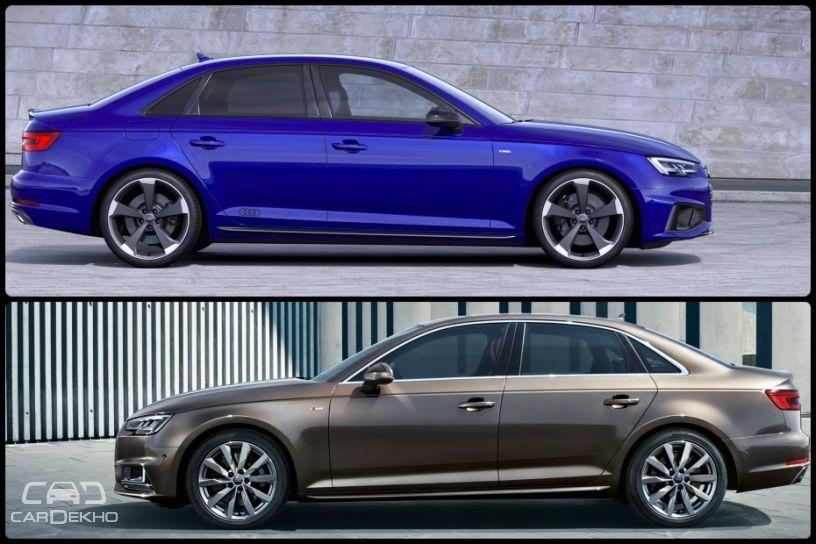 Top image: A4 facelift, Bottom image: pre-facelift A4