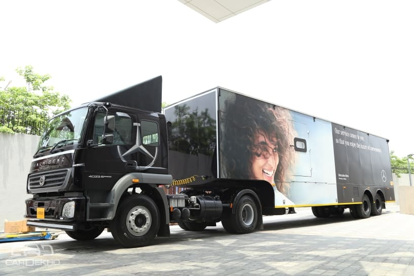 mercedes benz india launches fancy mobile service truck
