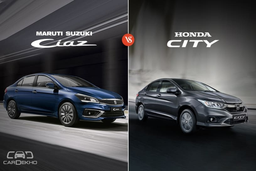 2018 Maruti Suzuki Ciaz Vs Honda City Variants Comparison