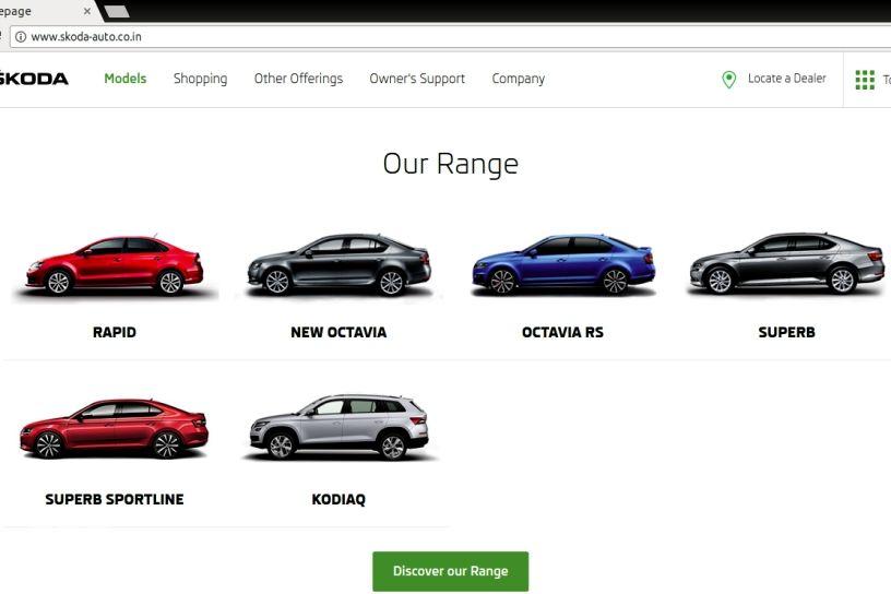 Screenshot of Skoda India website