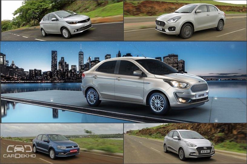 Spec Comparison: Ford Aspire 2018 vs Maruti Suzuki Dzire vs Honda Amaze vs Hyundai Xcent vs Volkswagen Ameo vs Tata Tigor