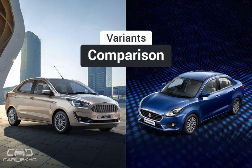 2018 Ford Aspire Facelift vs Maruti Dzire: Variants Comparison