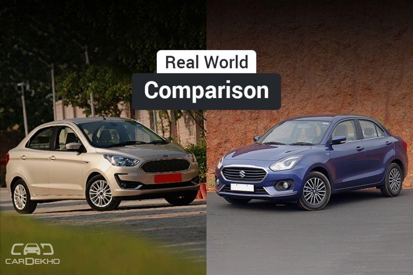 Maruti Dzire వర్సెస్ Ford Aspire: Real World Performance, Mileage Comparison