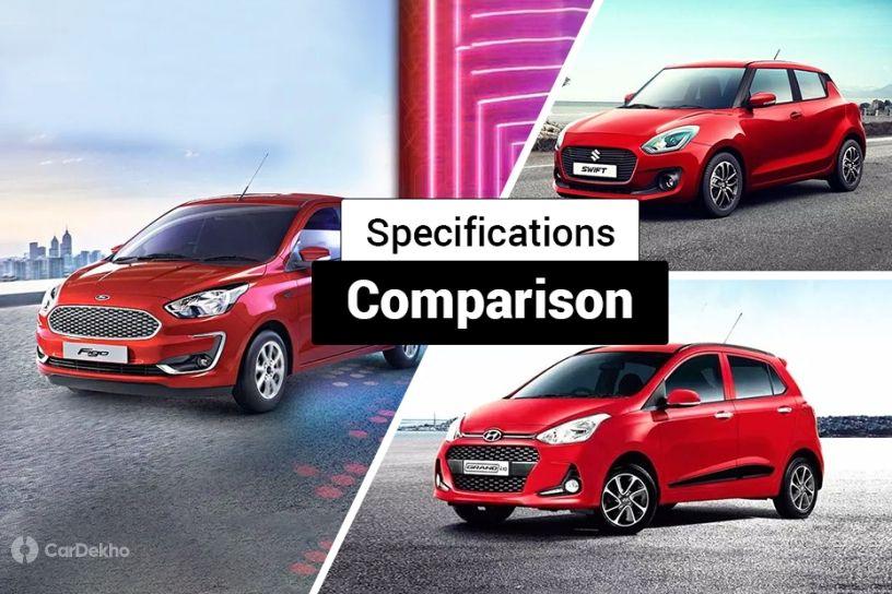 2019 Ford Figo Facelift Vs Maruti Swift Vs Hyundai Grand i10: Specifications Comparison