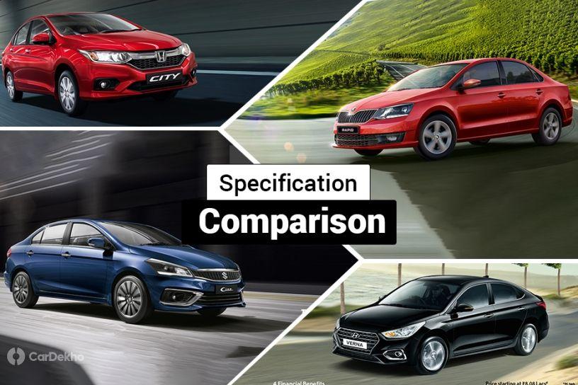 Maruti Ciaz 1.5-litre Diesel వర్సెస్ Hyundai Verna, Honda City, Skoda Rapid & VW Vento: Spec Comparison