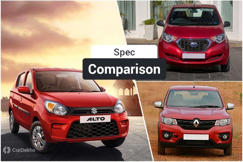 Maruti Suzuki Alto 2019 vs Renault Kwid vs Datsun redi-GO: Spec Comparison