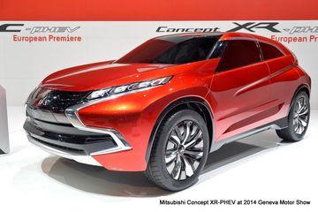 Mitsubishi showcased its three hybrid vehicles