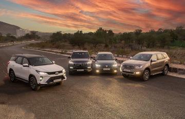 Blinding Lights: Toyota Fortuner Legender vs Ford Endeavour vs Mahindra Alturas G4 vs VW Tiguan AllSpace: Headlamp Performance Compared