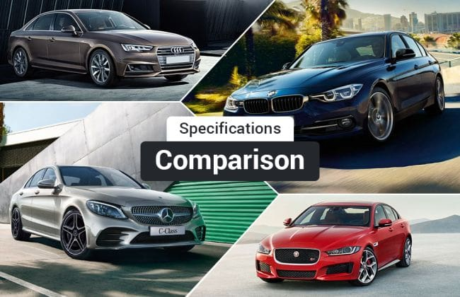 2018 mercedes benz c class facelift vs bmw 3 series vs audi a4 vs jaguar xe spec comparison. Black Bedroom Furniture Sets. Home Design Ideas
